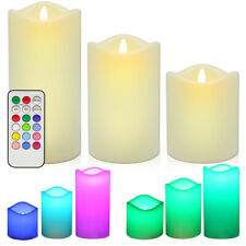 LED Flameless Candles, Remote Control  Multi Color Changing (Set of 3)