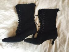 Italian Suede Fur Lined Black Heeled Boots Lace Up 36 1/2 Womens