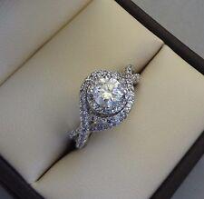 ZEI 14K WG 1.00 TCW ROUND DIAMOND SOLITAIRE ENGAGEMENT RING W/ PAVE TWIST HALO