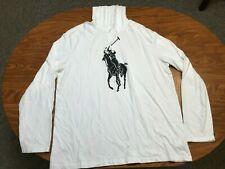 MENS USED POLO RALPH LAUREN WHITE BIG PONY LIGHTWEIGHT HOODED SHIRT SIZE XL