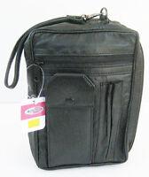 Black Leather Men's Messenger Bag Travel Organizer Cross Body Hand Strap Purse