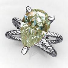 Natural Black Diamond.925 Silver Ring 2.26ct Vvs1+Off White Pear Moissanite &