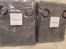 Restoration Hardware 2 Perennials Drapes Textured Linen Weave Grommet 96L Fog