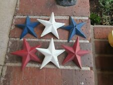 "6 Vintage IRON RED WHITE BLUE Barn STARS 3 1/2"" Diameter Patriotic Primitives"