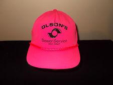 VTG-1980s Olson Sewer Service hot pink neon flourescent rope snapback hat sku20