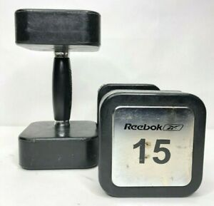 Reebok Pair 15lb Barbells Weights Rubber Coated Exercise Fitness Lifting
