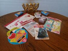 Lot Valentine Crafts Party Stickers Cards Photo Prop Kit Hearts Red Yay Sign