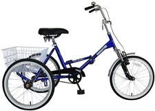Adult Tricycle Tri-Rad Folding 20 in. Wheels 16 in. Frame Unisex Blue Bike