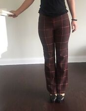 Rebecca Moses Women Brown Plaids Pants Made In Italy Wool&Cashmere Size 38 Us 4