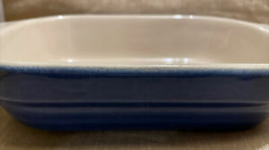 "Small Emile Henry Casserole Dish Ceramic Baking Dish  Blue 5.5"" X 7.5""."