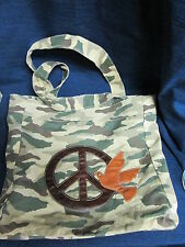 Fabric CAMOUFLAGE BOOK BAG or Large HANDBAG w/Peace Sign & Dove