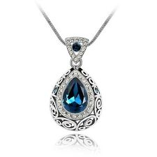 18K White Gold Plated Made With Swarovski Crystal Vintage Teardrop Necklace