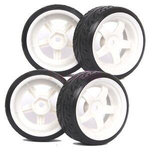 4PCS RC 1:10 On-Road Drift Car Hard Plastic Tyre Tires & Wheel Rim 6034-9015