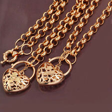 18k Yellow Gold Filled ct Heart Pendant Necklace Bracelet set -64cm