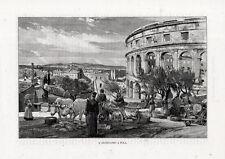 Stampa antica POLA PULA veduta panoramica e anfiteatro Croazia 1892 Old print