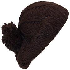 Papillon Hand Knit Twist Pattern Winter Beret  W/Large Pom Pom, Hat  # 830 Brown