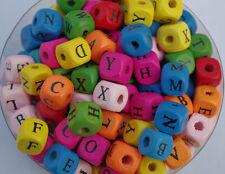 105pcs Mixed color Mixed Alphabet Cube Wooden Beads DIY Loose bead 10mm DF123
