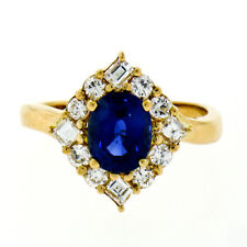 VERY FINE 18k Yellow Gold 2.01ctw GIA Oval Sapphire Round & Asscher Diamond Ring