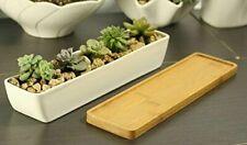 Simple Stylish 11.1 Inch Ceramic Rectangle Plant Pot w/ Wooden Base, New E74 Aa
