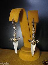 BARBARA BIXBY MOP DAGGER EARRINGS COUTURE 18K SS DIAMOND DESIGNER SWORD FLOWER