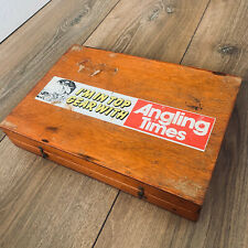 Beautiful Large Vintage Angling Times Oak Fishing Tackle Box Float Fly End Rig