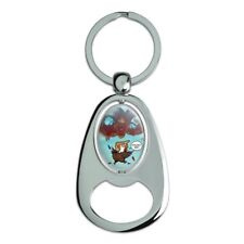 Trump Trade War with China Red Dragon Spinning Oval Bottle Opener Keychain