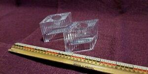 Set of 2 Avon Candle Holders Moonbeam Clear Diamond Shape 24% Full Lead Crystal