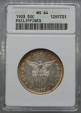 1903 US Philippines 50 Centavos Coin ANACS MS 64  Early ANACS Holder  (LVS2574R)