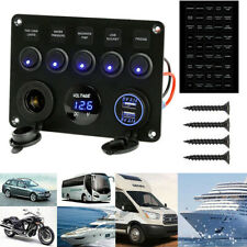 12V Dual USB Car Charge 5 Gang Blue Switch Panel Toggle Rocker Marine Boat USCC
