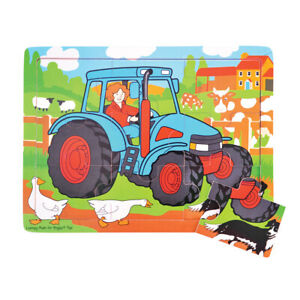 Bigjigs Toys Educational Wooden Tray Jigsaw Puzzle (Tractor)