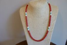 Coral, White Buffalo Turquoise And With Silver Heishi Bead Navajo Necklace