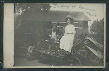 RPPC 1910's YOUNG FARMER & WIFE Sidney w/ Emma on the FARM WHEAT CUTTER