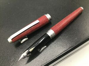 Sailor Precious Wood Collection Rosewood Red Silver Trim Fountain Pen 18k Fine