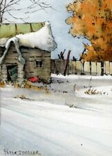 "Old Country Cabin"" ACEO 2.5""x3.5"" Original Watercolor Peter Sheeler rural house"