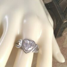 Vintage Jewellery Gold Ring White Sapphires Antique Love Heart Deco Jewelry 10
