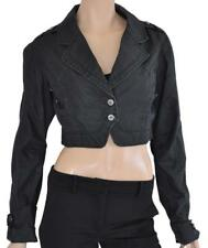 ET COMPAGNIE SZ 44 (14 AU) WOMENS Black Wash Long Sleeve Short Cropped Jacket