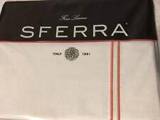 Sferra Grande Hotel  - White/SALMON  Full/queen Flat Sheet