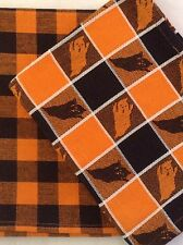 "Halloween Dish Towels Set Cotton Washable 18x28 "" Orange Black Check Plaid Ghost"