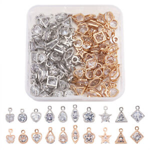 80x Mixed Shapes Alloy Clear Cubic Zirconia Charms Dangle Pendants Craft 11~15mm