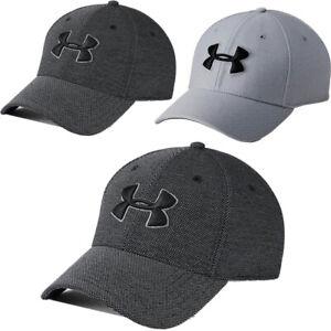 Under Armour Mens Golf Baseball Caps Blitzing 3.0 Sports Training Hat Black Grey
