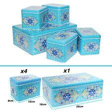 EID MUBARAK Ramadan BARATTOLI PER BISCOTTI & Cake Storage piatti da forno TIN SET REGALO-BLU