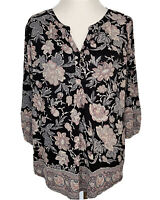 Lucky Brand Floral Print Boho Top Blouse 3/4 Sleeve Women's Size 1X