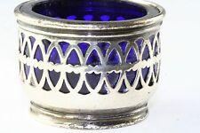 VTG ANTIQUE PIERCED STERLING SILVER COBALT BLUE GLASS SALT DISH CELLAR