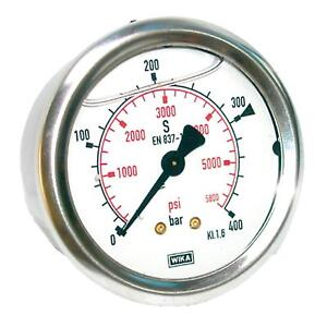 "Manometer Glycerin NG 63 1/4"" BSPP hinten Bar Psi versch Druckbereiche Hydraulik"