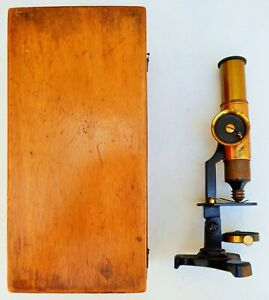 Antique Microscope Brass Barrel With Original Carrying Wooden Case