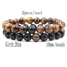 Natural Obsidian Tiger Eye Stone Bracelet 2020 High quality 2Pcs/Set Men's 10Mm