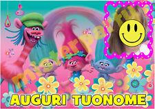 Cialda - Ostia per torte Trolls personalizzata con tua foto. Anche A3