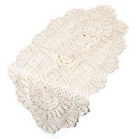 Vintage Lace Table Runner Cotton Crocheted Floral Placemat Tabletop Decor Oval