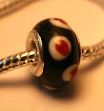 5 x Silver Red Black White Dot Spot Glass Charm Beads Reiki Blessed in gift bag