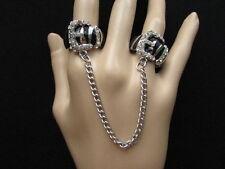 Sexy Damen Silber Schwarz Metall Leopard Gürtelschnalle Zebra Zwei Finger Ring